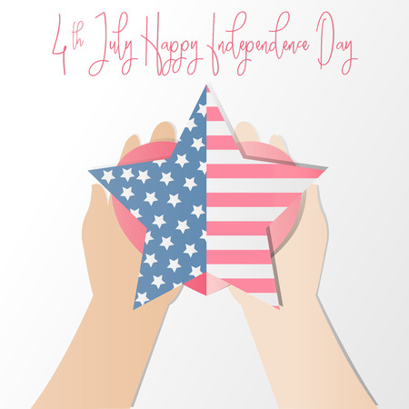4th of july American independence day badge with hand holding heart and  American flag in the framework of stars,Vector illustration.