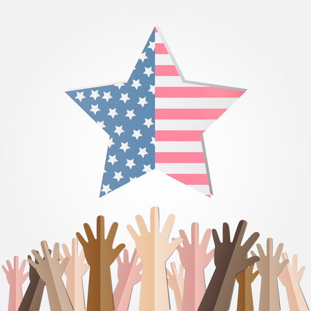 4th of july American independence day badge with different hands try to holding American flag in the framework of stars,Vector illustration.