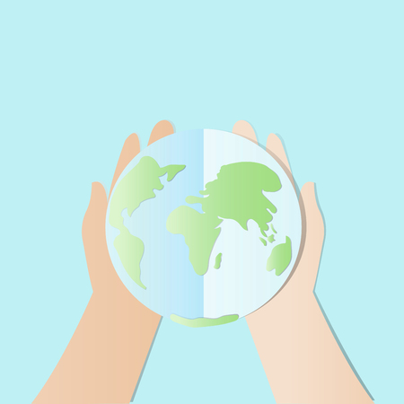 Ecology concept. save world or earth vector illustration, Hands try to holding The earth with Happy Earth Day text.