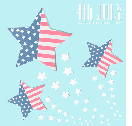4th of july American independence day badge with American flag in the framework of stars,Vector illustration.