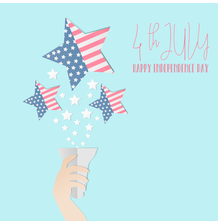 4th of July American independence day badge, Concept hand of the statue of liberty holding a torch, a star with flag of America inside,Vector illustration. Illustration