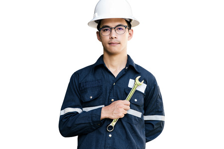 Asian man,Engineer or Technician in white helmet, glasses and blue working shirt suit holding wrench, isolated on white, mechanic and Oil and Gas industrial concept with clipping path. 版權商用圖片
