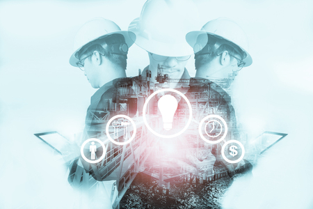 Double exposure of Engineer or Technician man with industry tool icons for management business by using tablet with safty helmet & uniform for oil and gas industrial business concept. Banco de Imagens - 87857646