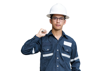 Asian man,Engineer or Technician in white helmet, glasses and blue working shirt suit holding wrench, isolated on white, mechanic and Oil and Gas industrial concept with clipping path. Stock Photo