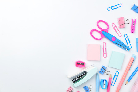 Flat Lay top view Photo of school supplies scissors in pastel tone on white background with copy space. Stok Fotoğraf