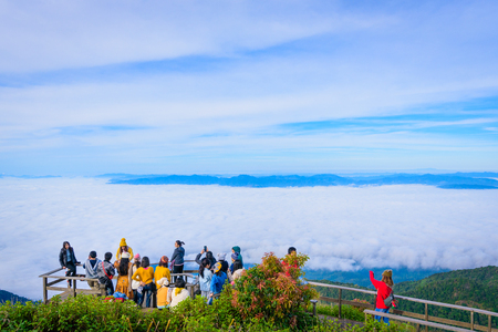 Chiang mai, Thailand - NOV 29 2017: Tourist arrivals unidentified taking picture with mist at Kew Mae Pan Natural trail at Doi intanon national park.