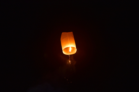 Launching floating lanterns Yeepeng Festival in Chiangmai city Thailand.