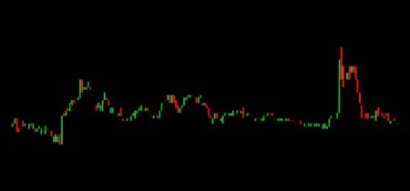Business candle stick graph chart of stock market investment trading on black background with clipping path.