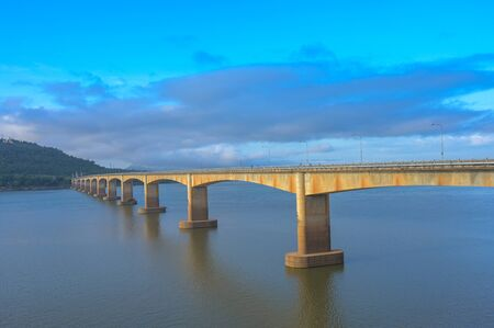The Lao Nippon bridge over the mekong river in the southern laos in themorning. 스톡 콘텐츠