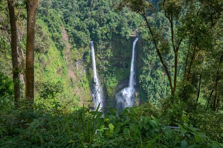 ad Fan Waterfall in southern Laos.It is a place to visit the natural beauty.Mountain forest waterfall landscape.