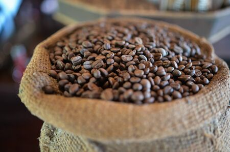 coffee beans in the basket with Ripe coffee leaves. Reklamní fotografie