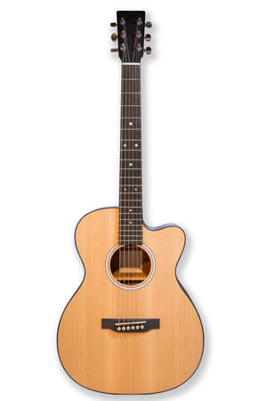 Acoustic cutaway guitar isolated over white background.