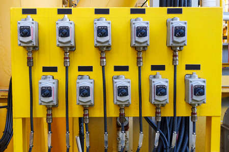 Local control switch of circuit breaker of control and protection panel in industry plant. 版權商用圖片