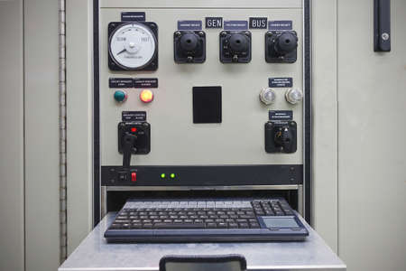 Electrical switch panel of switchgear room at power plant for start power generator or rotating equipment.