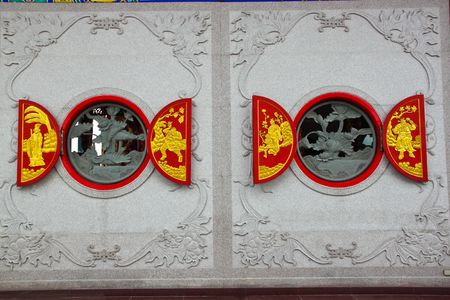 nonthaburi: two chinese window style, temple in thailand