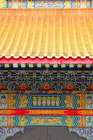 colorful roof and construction, chinese temple in thailand photo