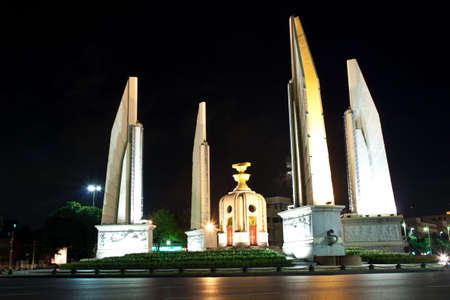 night view of the democracy monument in bangkok, thailand photo