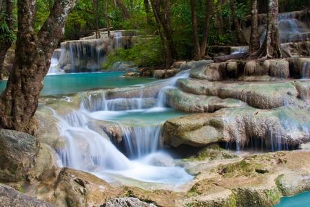 a beautiful waterfall and rainforest in kanchanaburi, thailand Stock Photo - 8286365