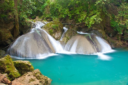 erawan: a beautiful waterfall and rainforest in kanchanaburi, thailand Stock Photo