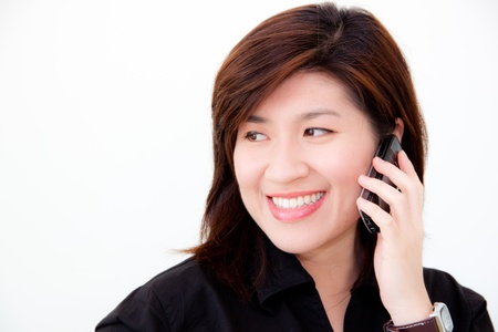 asian woman with telephone on white background