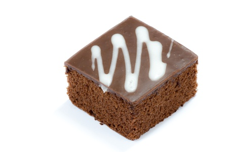 custard slices: a piece of chocolate cake on white background