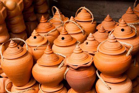 thai pottery style Stock Photo