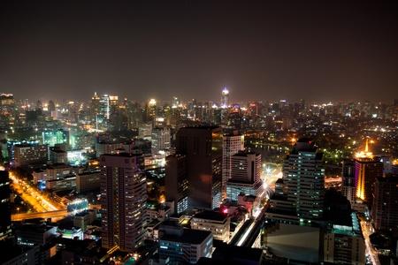 night cityscape in bangkok, thailand