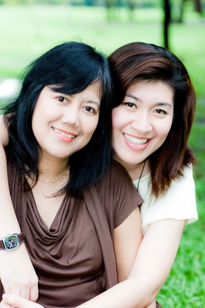 portrait of two asian women Stock Photo