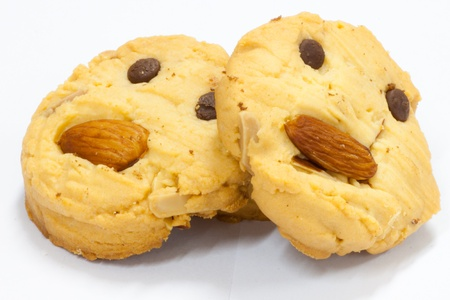 almond butter cookies on white background