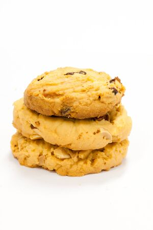 group of almond butter cookies on white background photo