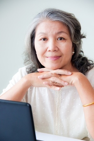 healthy seniors: happy senior asian woman  Stock Photo