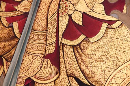 thai arts: beautiful thai arts painting on wall at temple of thailand  Stock Photo