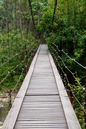 rope bridge: wooden bridge in Thailand Stock Photo