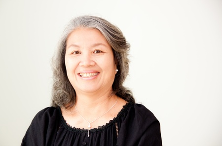 portrait of senior asian woman in black Stock Photo