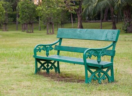 a green wooden chair