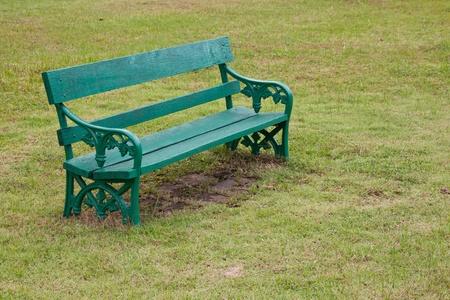 a green wooden chair  photo