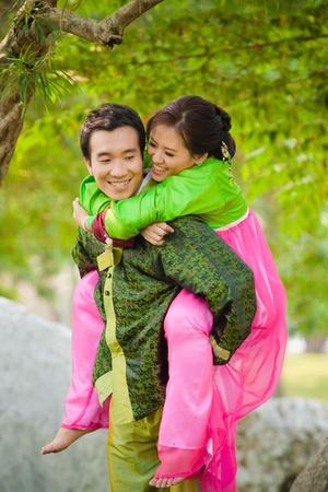 happy asian couple