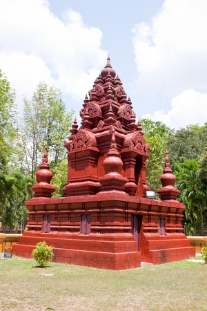 red pagoda in temple, thailand