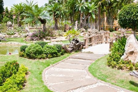 stone pathway in green garden
