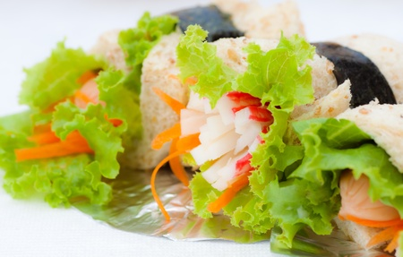 bread with crab and vegetable