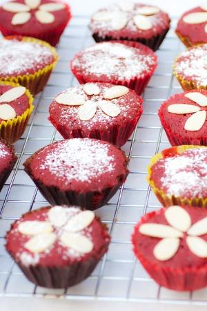 rows of red velvet cupcake Stock Photo