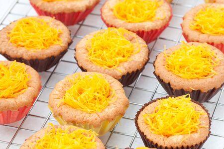 gold egg yolk thread cake Stock Photo