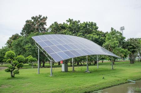 voltaic: Electric photo voltaic solar panels cells in the garden