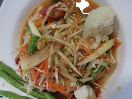 somtum: Famous Thai food, papaya salad or what we called Somtum in Thai