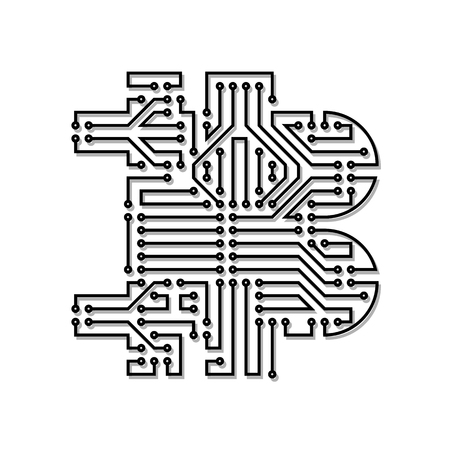Symbol of bitcoin Circuit board