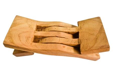 penetracion: Almohada está hecha de madera Foto de archivo