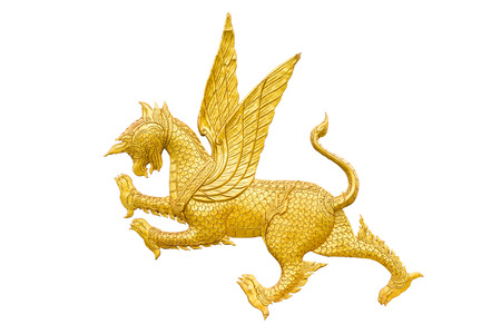 asian art: Golden Lion statue with wings, Asian style art, isolated on a white background