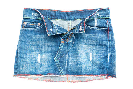 jeanswear: jeans skirt isolated on white background