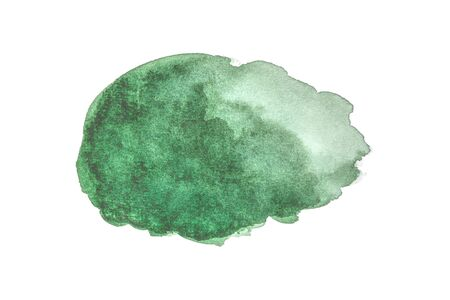 abstract green watercolor isolated on white backgrounds, hand paint on paper.