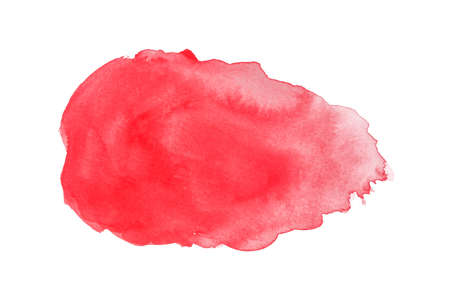 abstract red watercolor isolated on white backgrounds, hand paint on paper.